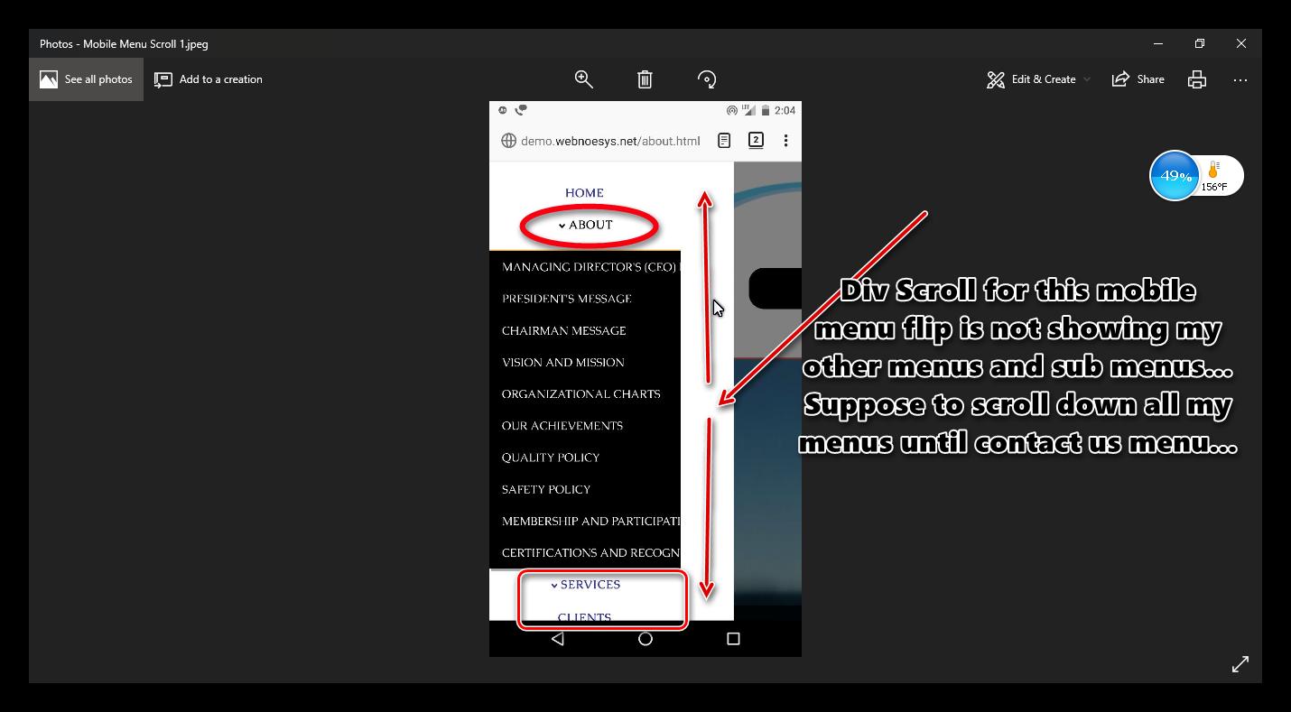 Mobile Menu (Slide Menu) with more pages menu & sub menus Scrolling
